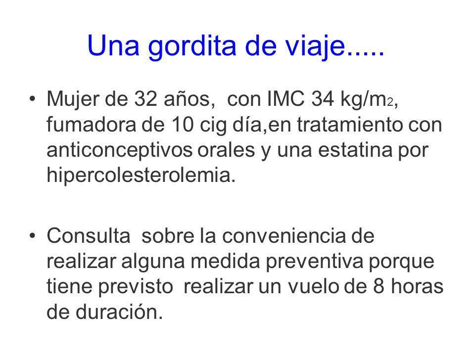 Mujer de 32 años, con IMC 34 kg/m 2, fumadora de 10 cig día,en tratamiento con anticonceptivos orales y una estatina por hipercolesterolemia. Consulta