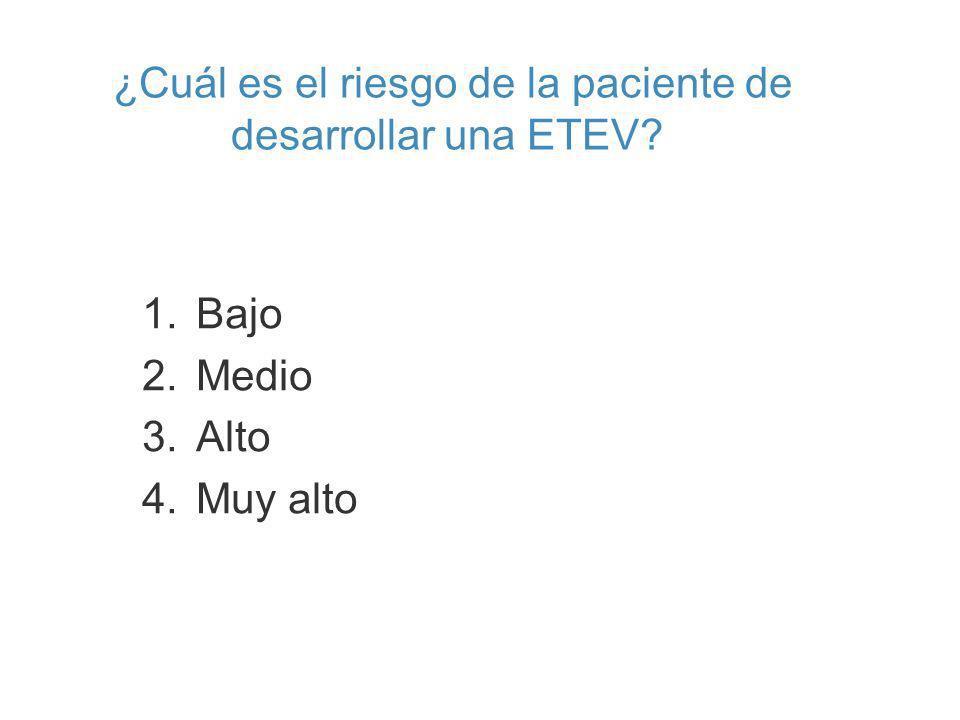 ¿Cuál es el riesgo de la paciente de desarrollar una ETEV? 1.Bajo 2.Medio 3.Alto 4.Muy alto