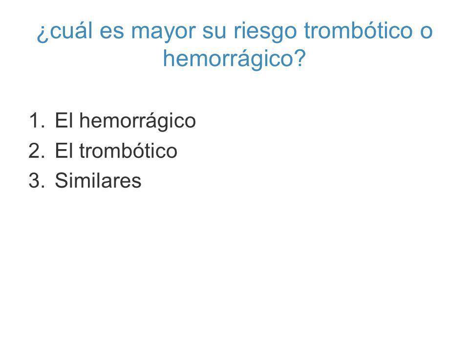 ¿cuál es mayor su riesgo trombótico o hemorrágico? 1.El hemorrágico 2.El trombótico 3.Similares