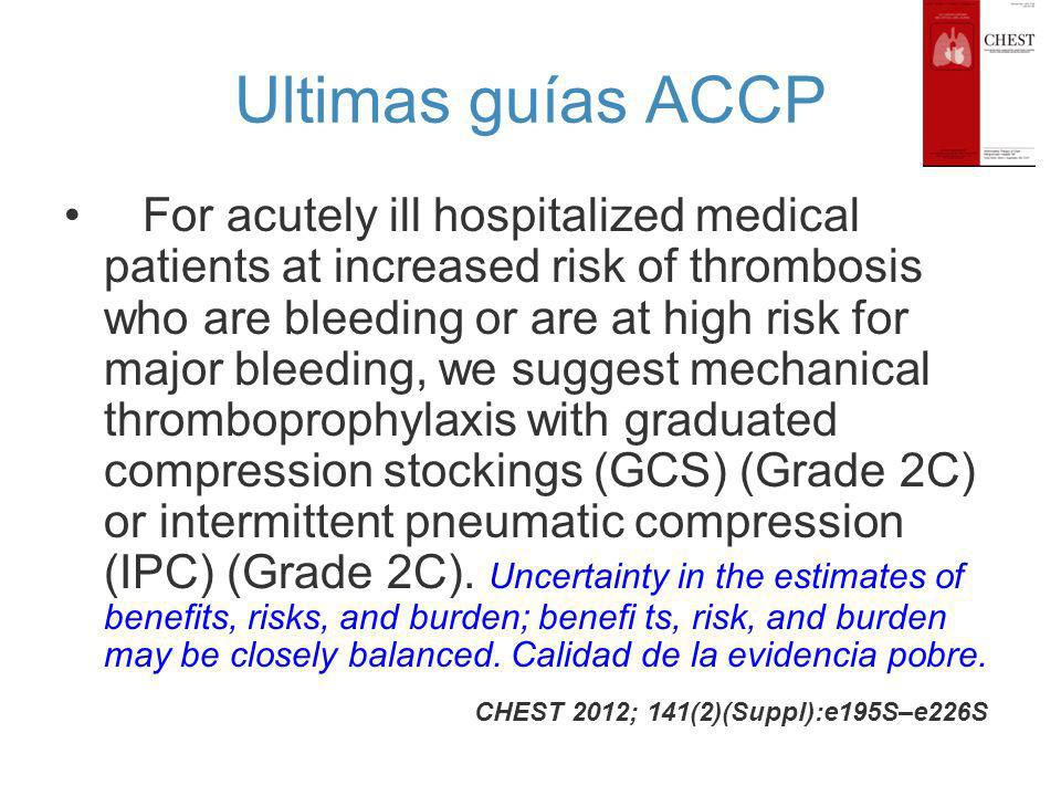 Ultimas guías ACCP For acutely ill hospitalized medical patients at increased risk of thrombosis who are bleeding or are at high risk for major bleedi