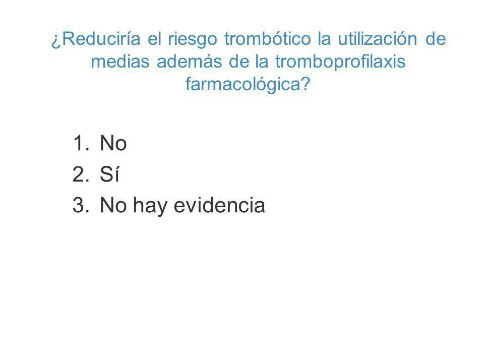 ¿Reduciría el riesgo trombótico la utilización de medias además de la tromboprofilaxis farmacológica? 1.No 2.Sí 3.No hay evidencia