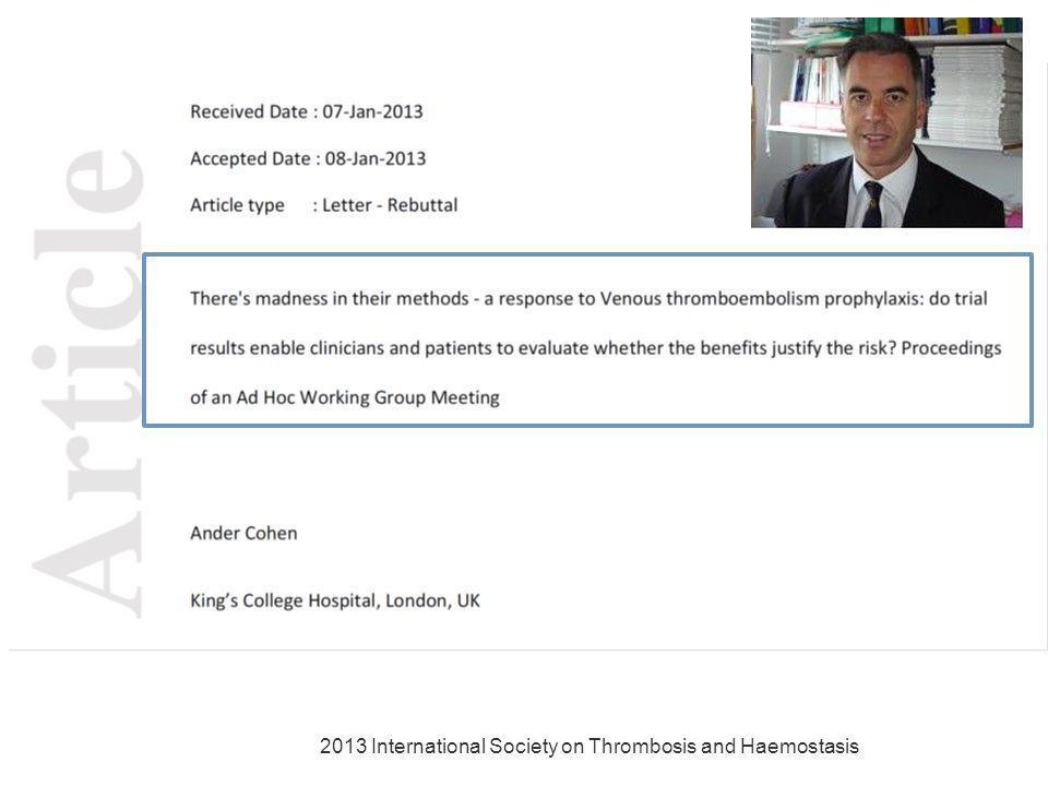 2013 International Society on Thrombosis and Haemostasis