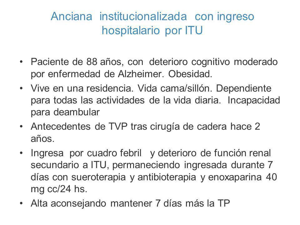 Paciente de 88 años, con deterioro cognitivo moderado por enfermedad de Alzheimer. Obesidad. Vive en una residencia. Vida cama/sillón. Dependiente par