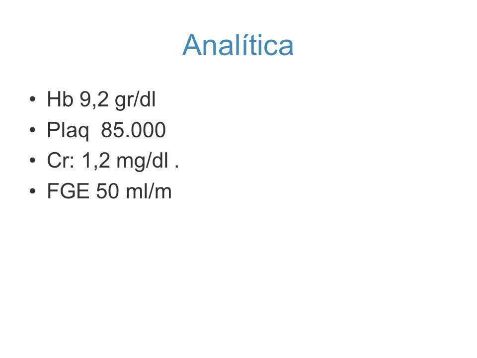 Analítica Hb 9,2 gr/dl Plaq 85.000 Cr: 1,2 mg/dl. FGE 50 ml/m