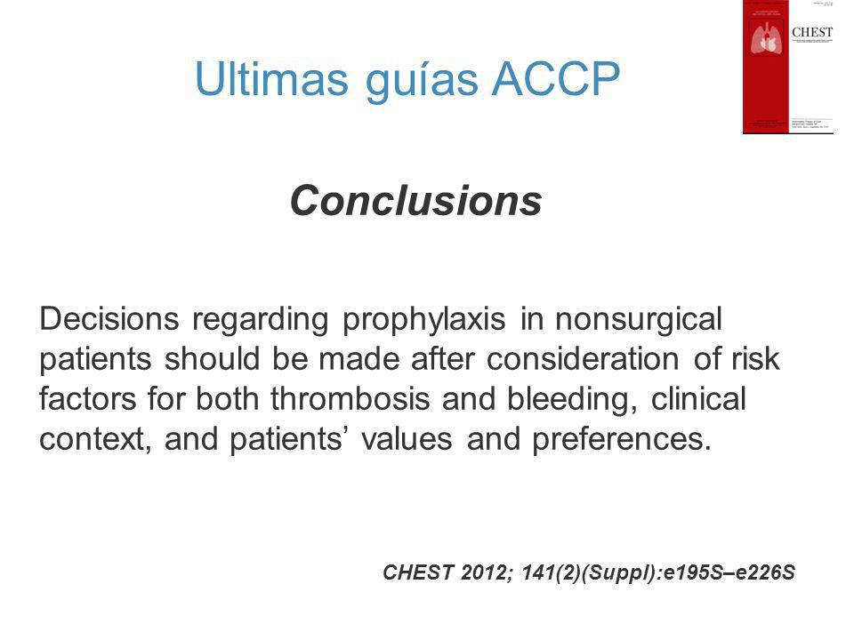 Conclusions CHEST 2012; 141(2)(Suppl):e195S–e226S Decisions regarding prophylaxis in nonsurgical patients should be made after consideration of risk f