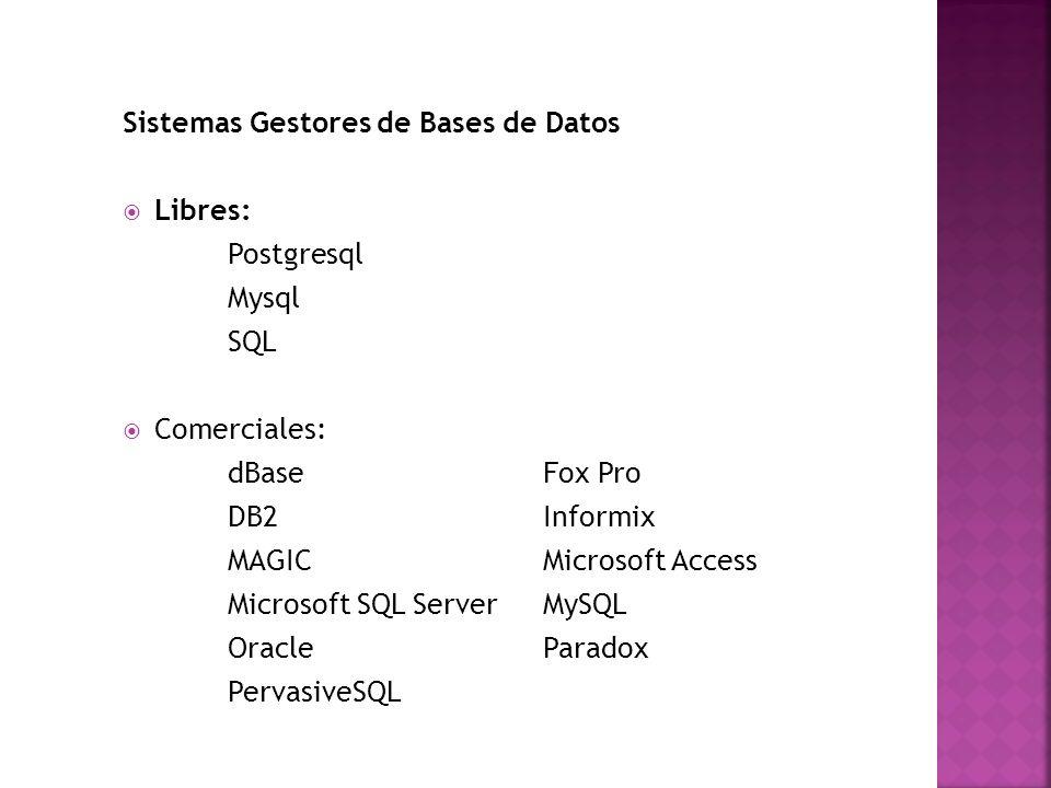 Sistemas Gestores de Bases de Datos Libres: Postgresql Mysql SQL Comerciales: dBase Fox Pro DB2 Informix MAGIC Microsoft Access Microsoft SQL Server M