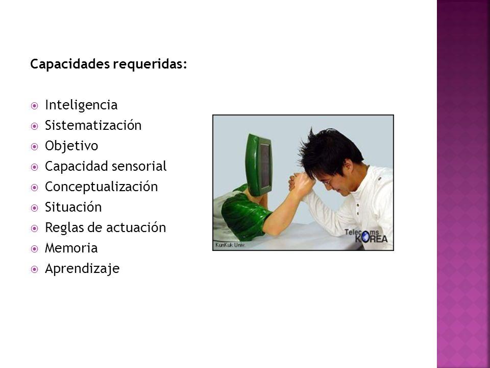 Capacidades requeridas: Inteligencia Sistematización Objetivo Capacidad sensorial Conceptualización Situación Reglas de actuación Memoria Aprendizaje