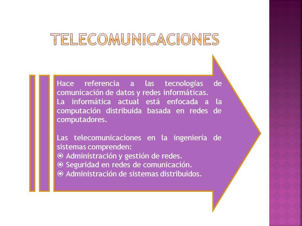 Hace referencia a las tecnologías de comunicación de datos y redes informáticas. La informática actual está enfocada a la computación distribuida basa