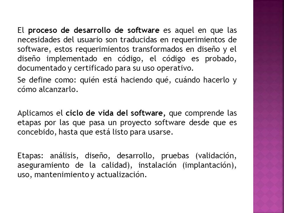 El proceso de desarrollo de software es aquel en que las necesidades del usuario son traducidas en requerimientos de software, estos requerimientos tr