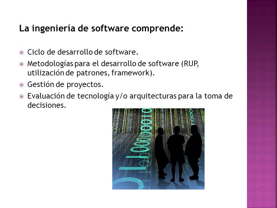 La ingeniería de software comprende: Ciclo de desarrollo de software. Metodologías para el desarrollo de software (RUP, utilización de patrones, frame