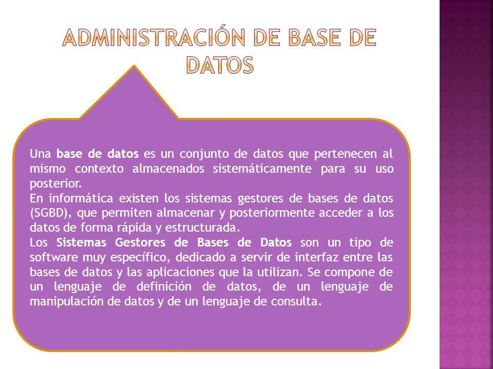 Una base de datos es un conjunto de datos que pertenecen al mismo contexto almacenados sistemáticamente para su uso posterior. En informática existen