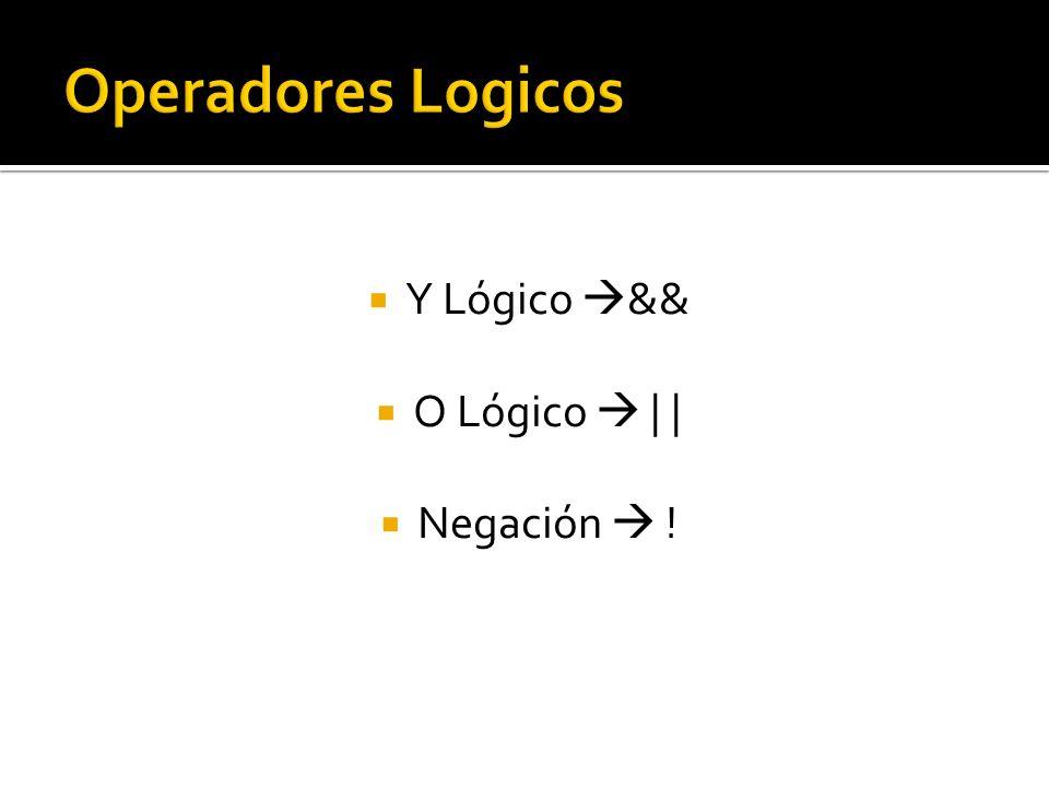 Y Lógico && O Lógico | | Negación !