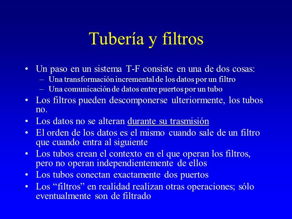 Tubería y filtros Un paso en un sistema T-F consiste en una de dos cosas: –Una transformación incremental de los datos por un filtro –Una comunicación