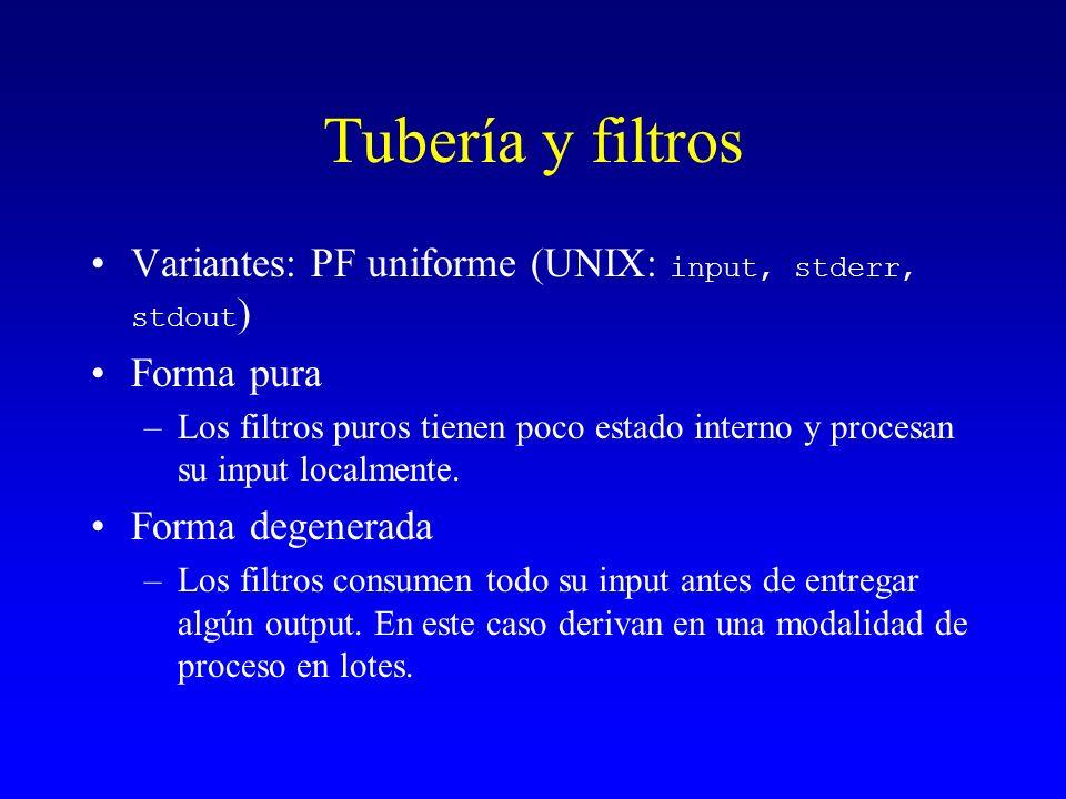 Tubería y filtros Variantes: PF uniforme (UNIX: input, stderr, stdout ) Forma pura –Los filtros puros tienen poco estado interno y procesan su input l