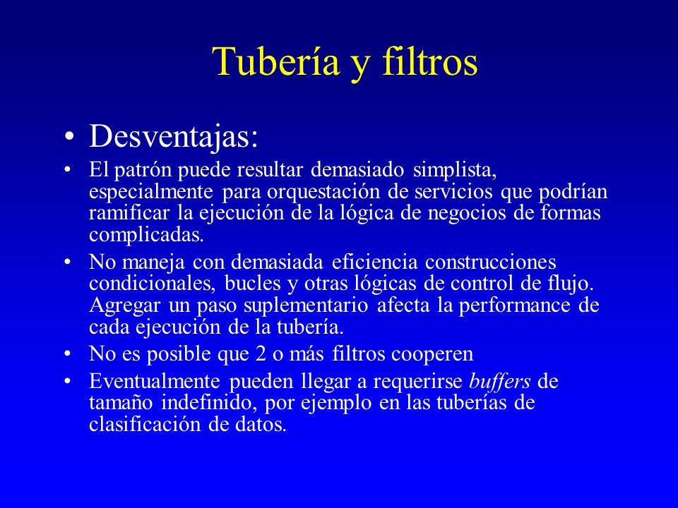 Tubería y filtros Desventajas: El patrón puede resultar demasiado simplista, especialmente para orquestación de servicios que podrían ramificar la eje