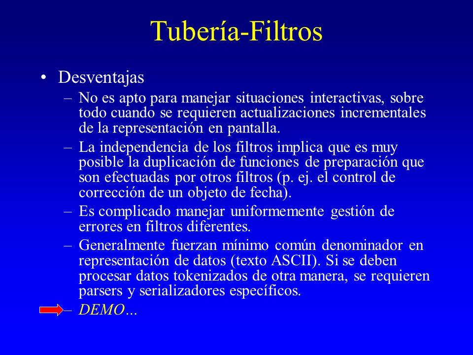 Tubería-Filtros Desventajas –No es apto para manejar situaciones interactivas, sobre todo cuando se requieren actualizaciones incrementales de la repr