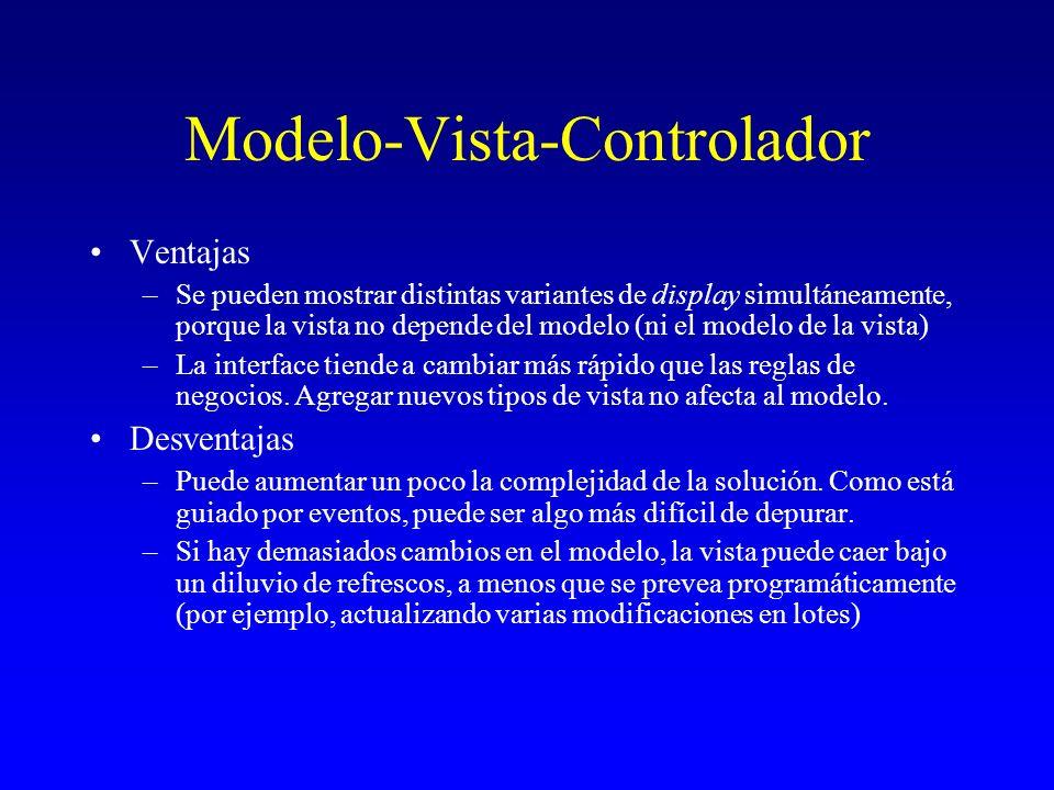 Modelo-Vista-Controlador Ventajas –Se pueden mostrar distintas variantes de display simultáneamente, porque la vista no depende del modelo (ni el mode