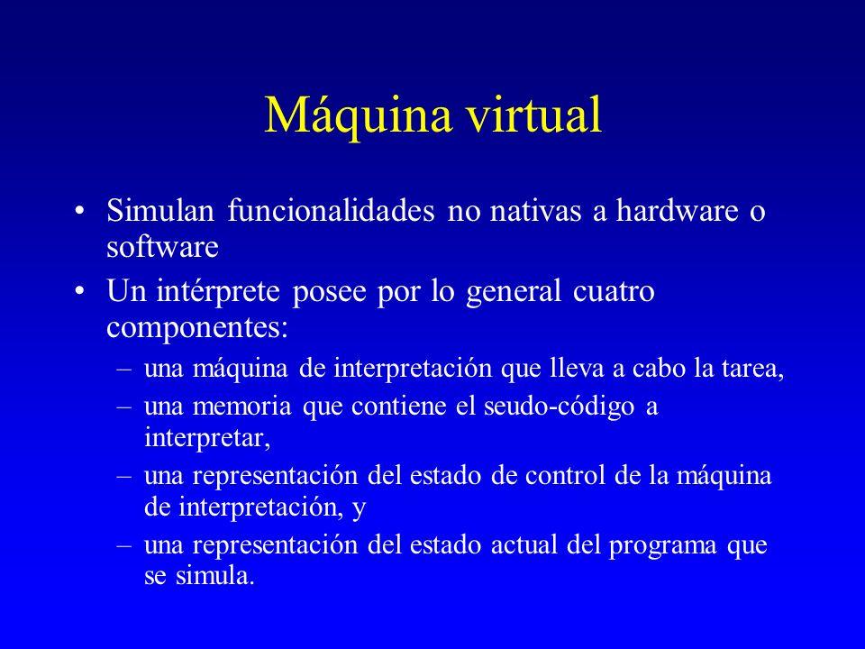 Simulan funcionalidades no nativas a hardware o software Un intérprete posee por lo general cuatro componentes: –una máquina de interpretación que lle