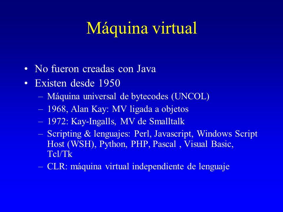 Máquina virtual No fueron creadas con Java Existen desde 1950 –Máquina universal de bytecodes (UNCOL) –1968, Alan Kay: MV ligada a objetos –1972: Kay-