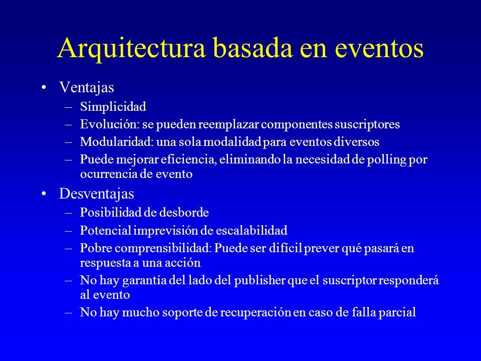Arquitectura basada en eventos Ventajas –Simplicidad –Evolución: se pueden reemplazar componentes suscriptores –Modularidad: una sola modalidad para e