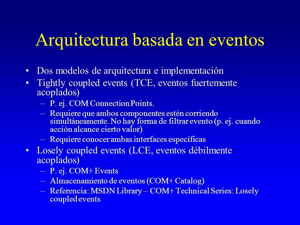 Arquitectura basada en eventos Dos modelos de arquitectura e implementación Tightly coupled events (TCE, eventos fuertemente acoplados) –P. ej. COM Co