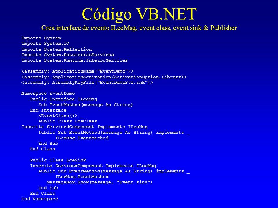 Código VB.NET Crea interface de evento ILceMsg, event class, event sink & Publisher Imports System Imports System.IO Imports System.Reflection Imports