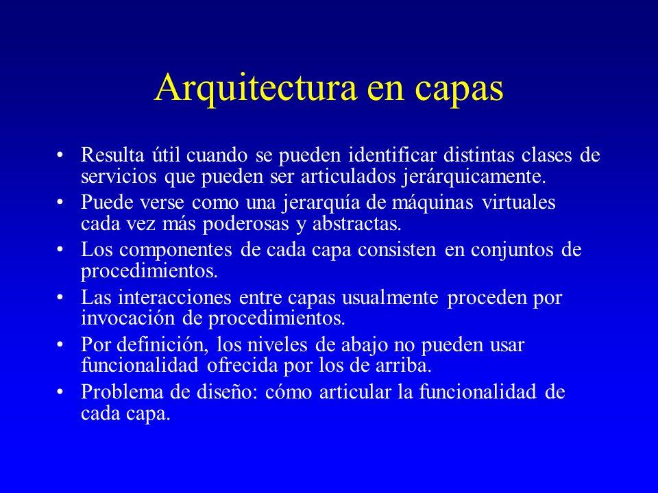Arquitectura en capas Resulta útil cuando se pueden identificar distintas clases de servicios que pueden ser articulados jerárquicamente. Puede verse