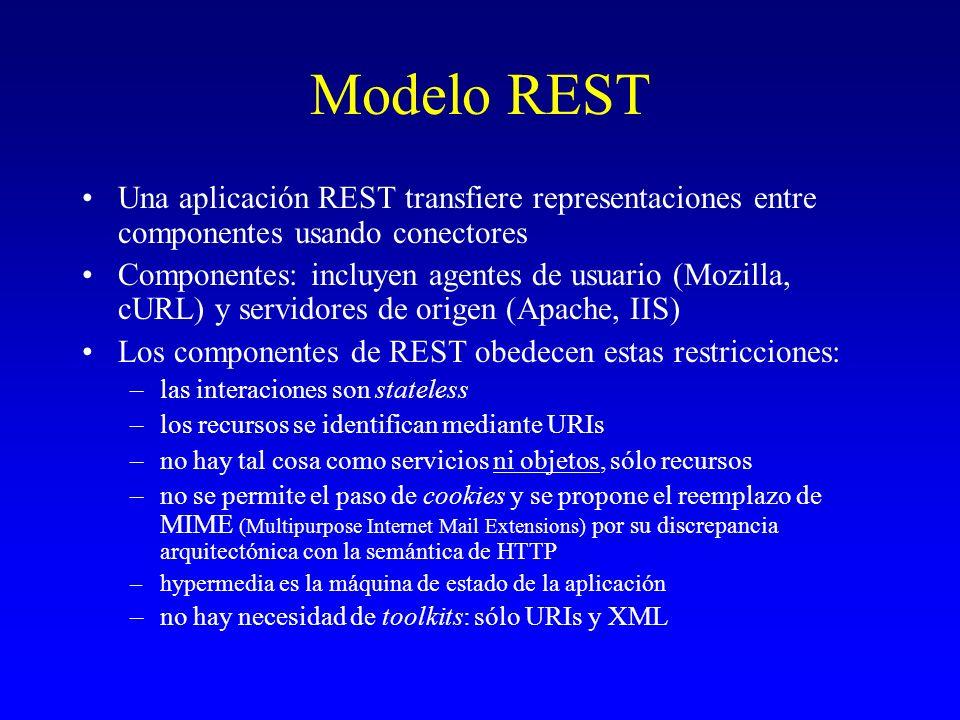 Modelo REST Una aplicación REST transfiere representaciones entre componentes usando conectores Componentes: incluyen agentes de usuario (Mozilla, cUR