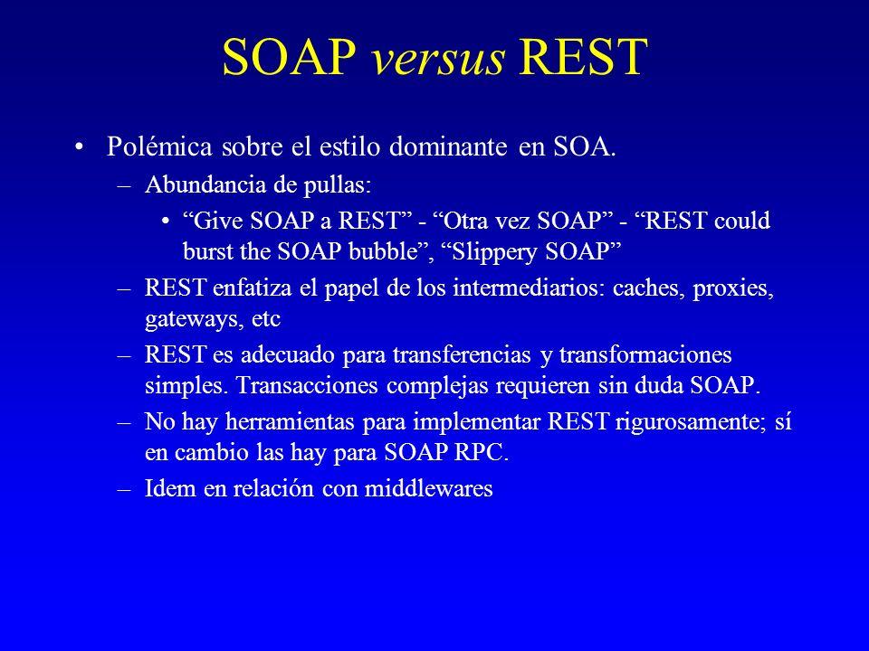 SOAP versus REST Polémica sobre el estilo dominante en SOA. –Abundancia de pullas: Give SOAP a REST - Otra vez SOAP - REST could burst the SOAP bubble