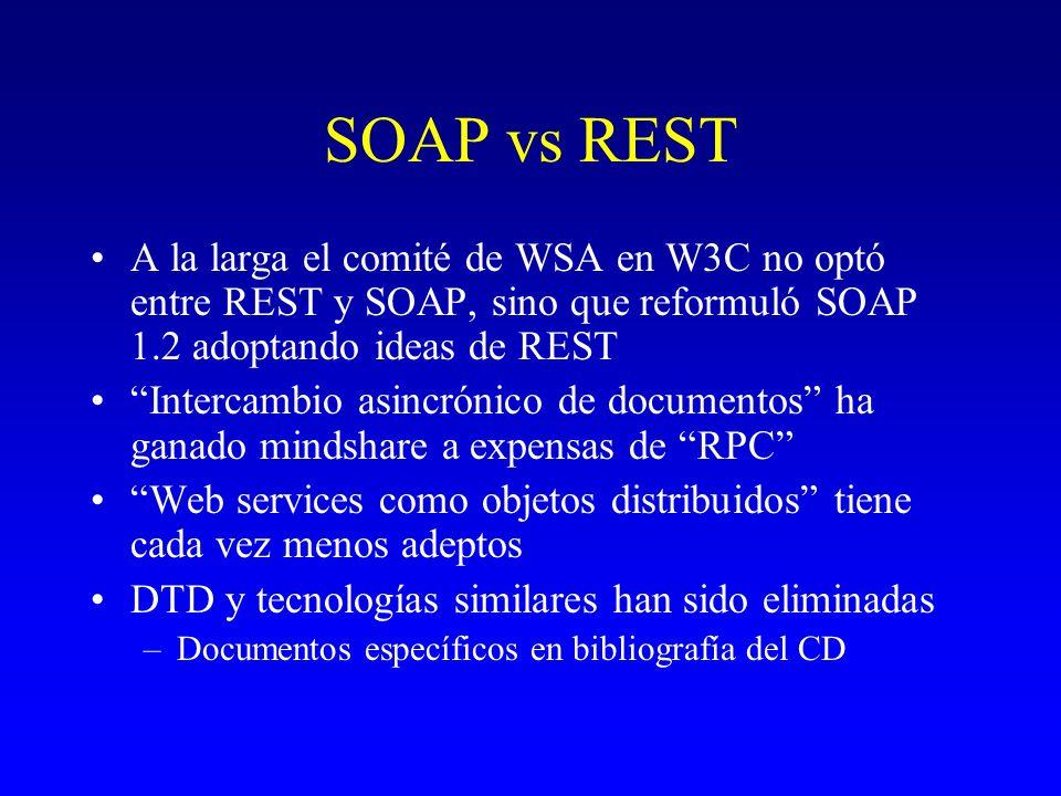 SOAP vs REST A la larga el comité de WSA en W3C no optó entre REST y SOAP, sino que reformuló SOAP 1.2 adoptando ideas de REST Intercambio asincrónico
