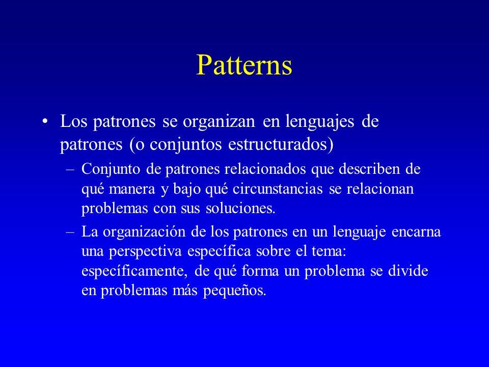 Patterns Los patrones se organizan en lenguajes de patrones (o conjuntos estructurados) –Conjunto de patrones relacionados que describen de qué manera