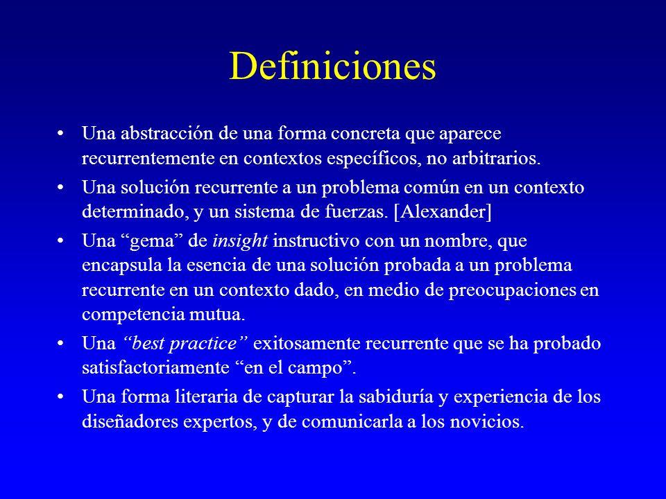 Definiciones Una abstracción de una forma concreta que aparece recurrentemente en contextos específicos, no arbitrarios. Una solución recurrente a un