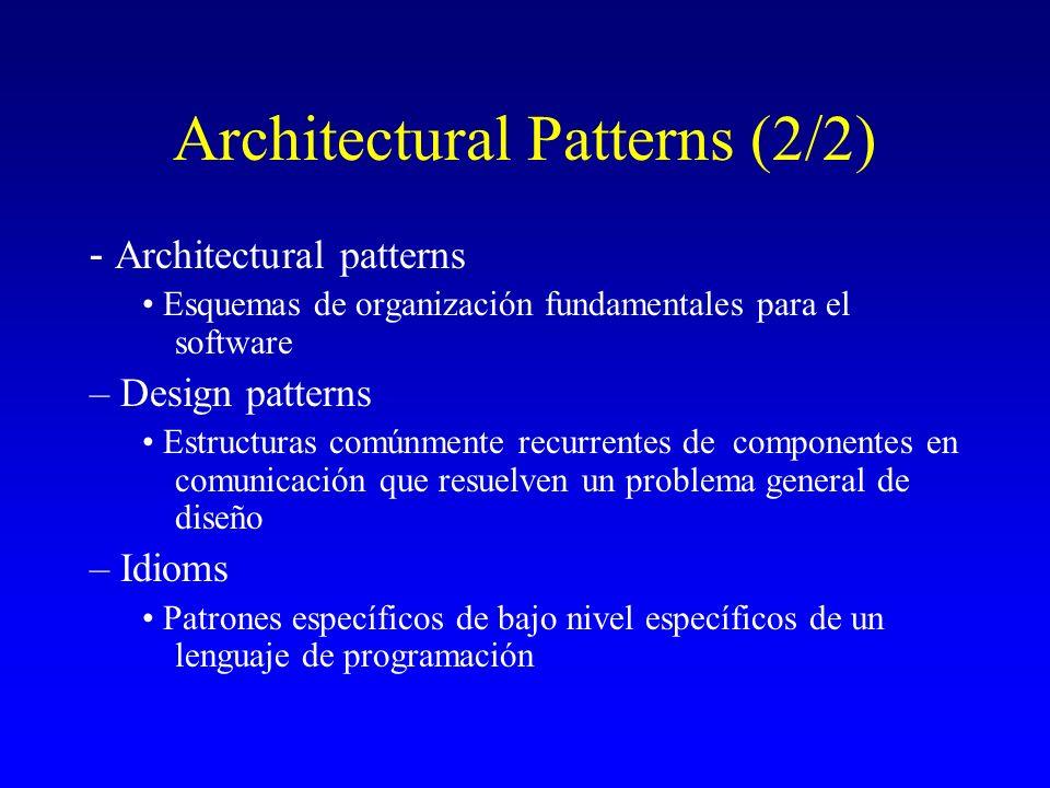 Architectural Patterns (2/2) - Architectural patterns Esquemas de organización fundamentales para el software – Design patterns Estructuras comúnmente