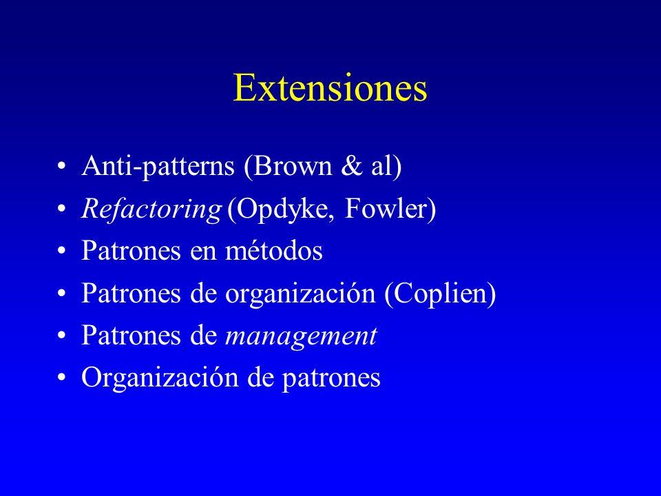 Extensiones Anti-patterns (Brown & al) Refactoring (Opdyke, Fowler) Patrones en métodos Patrones de organización (Coplien) Patrones de management Orga