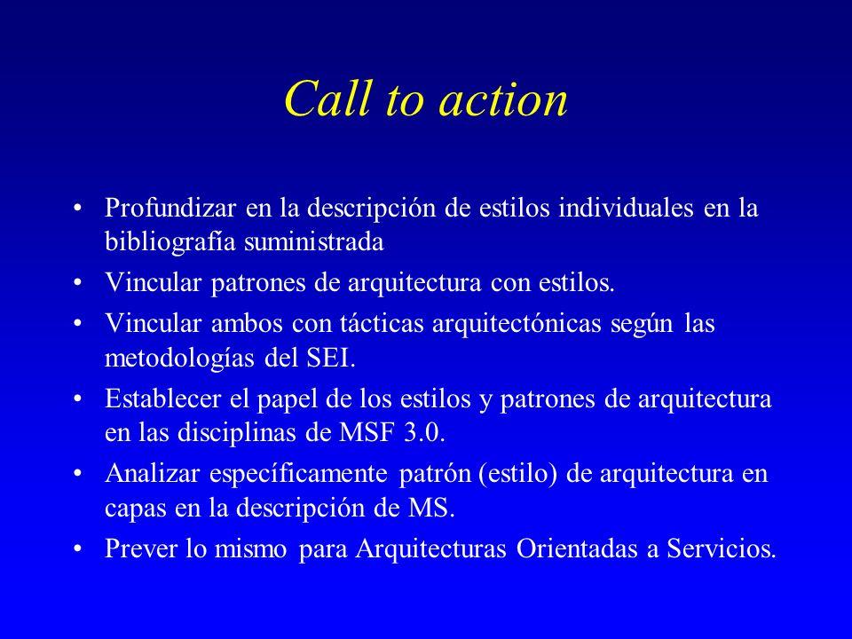 Call to action Profundizar en la descripción de estilos individuales en la bibliografía suministrada Vincular patrones de arquitectura con estilos. Vi