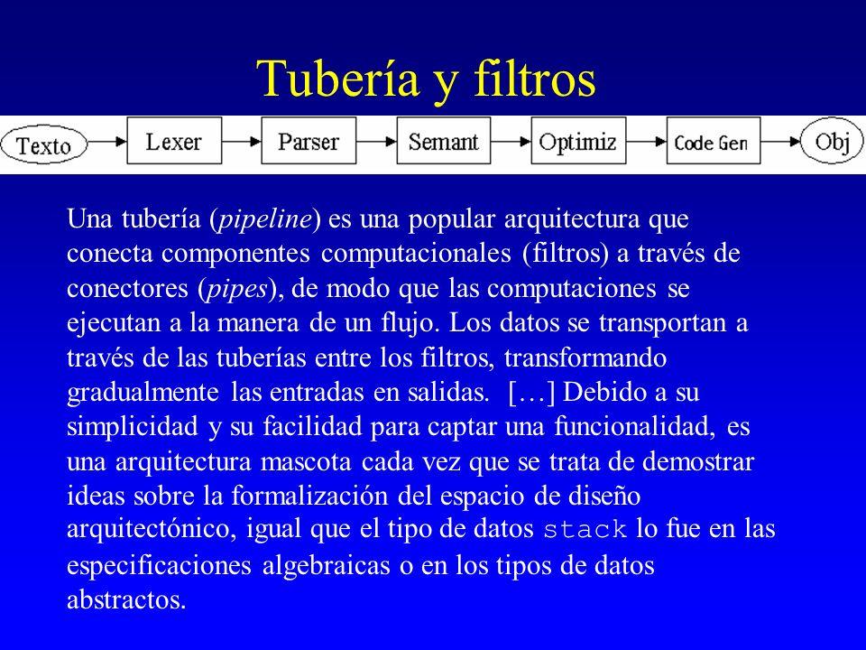 Tubería y filtros Una tubería (pipeline) es una popular arquitectura que conecta componentes computacionales (filtros) a través de conectores (pipes),