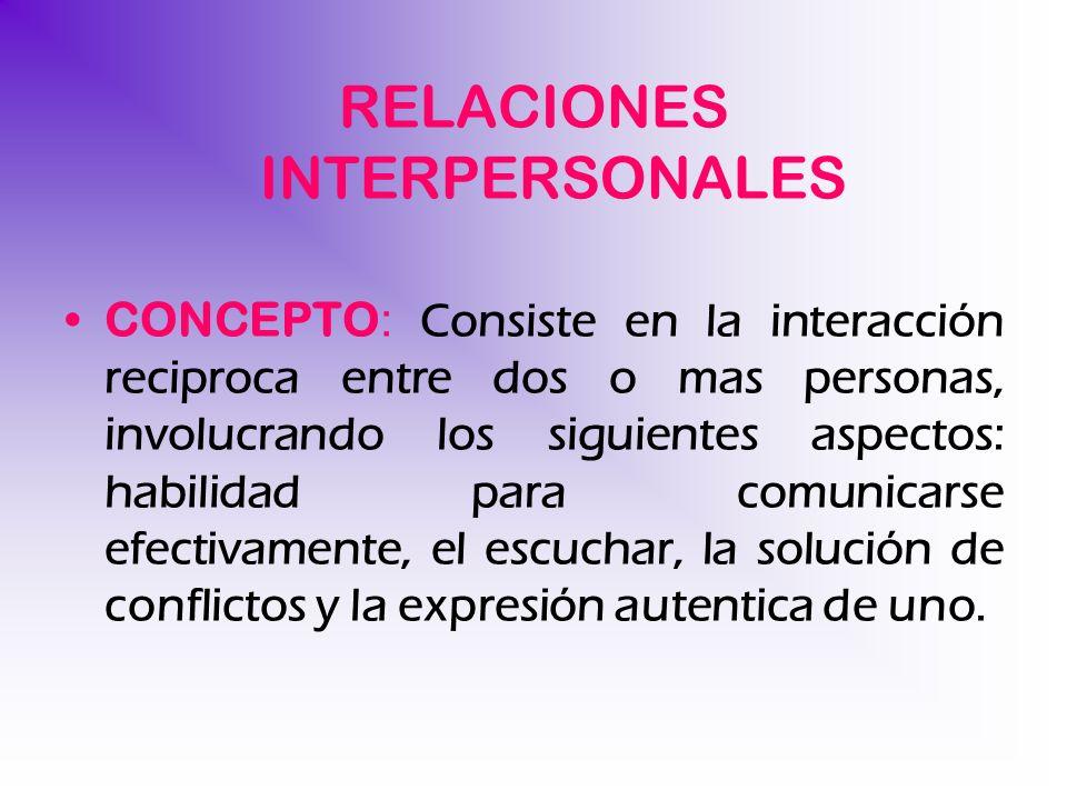 RELACIONES INTERPERSONALES CONCEPTO : Consiste en la interacción reciproca entre dos o mas personas, involucrando los siguientes aspectos: habilidad p