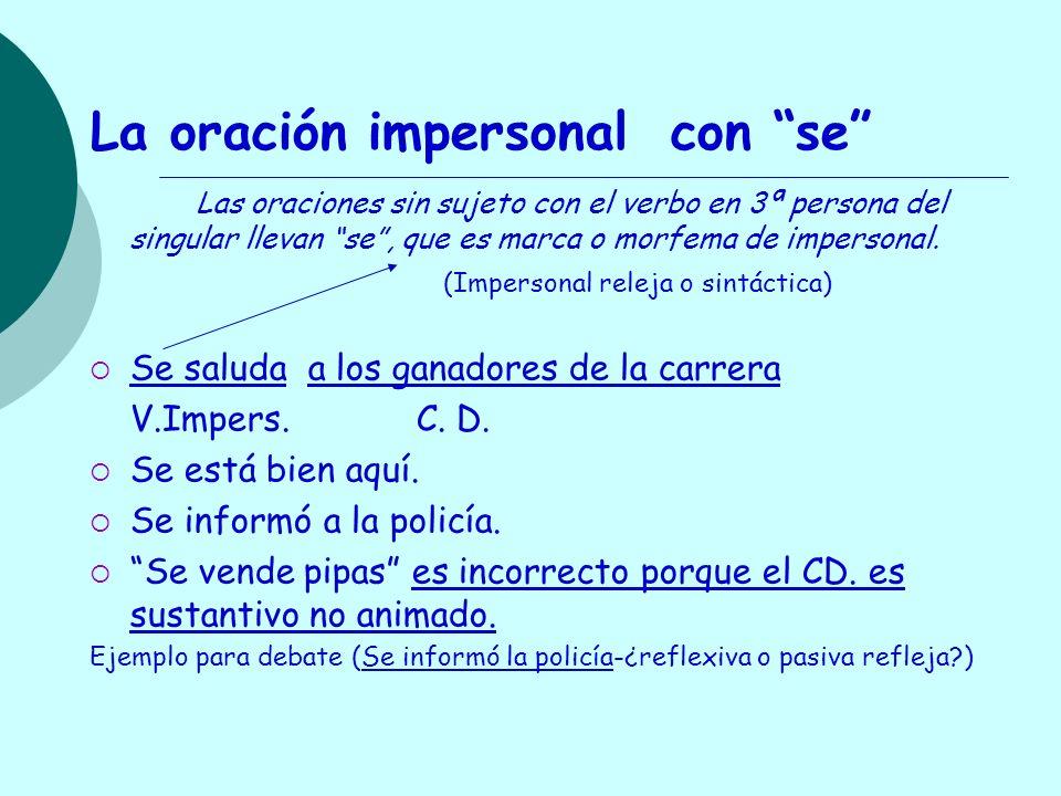 La oración impersonal con se Las oraciones sin sujeto con el verbo en 3ª persona del singular llevan se, que es marca o morfema de impersonal. (Impers