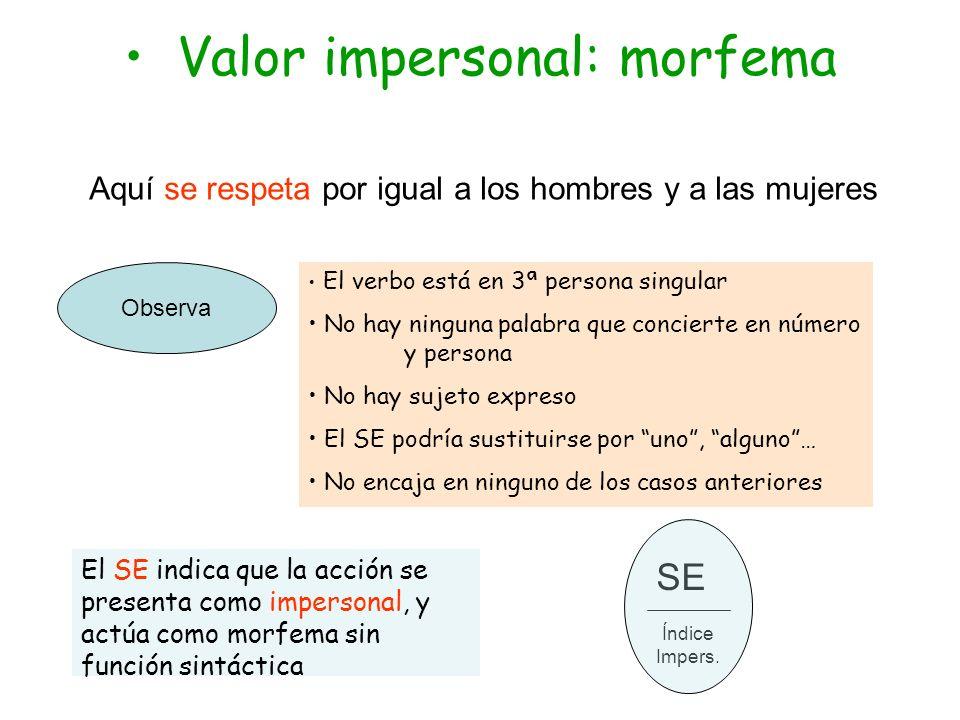 Valor impersonal: morfema Aquí se respeta por igual a los hombres y a las mujeres Observa El verbo está en 3ª persona singular No hay ninguna palabra