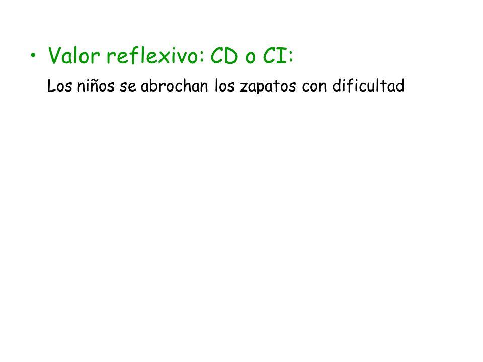 En este caso, nuestro SE actúa como CI, ya que la oración tenía su propio CD Los niños se atan los cordones SN-CISN-CD SV-PVSN-Suj NN N N det Pero esta misma circunstancia podría darse en una oración en la que el propio sujeto fuera el objeto de la acción El muy sinvergüenza se designó para el puesto det SV-PVSN-Suj SN-CDNN NN SPrep-CCF enl SAdv- CAdj Es un SE reflexivo indirecto Es un SE reflexivo directo