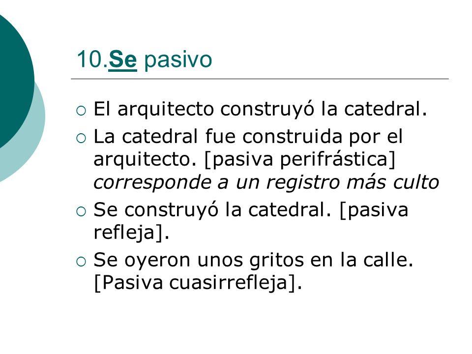 10.Se pasivo El arquitecto construyó la catedral. La catedral fue construida por el arquitecto. [pasiva perifrástica] corresponde a un registro más cu