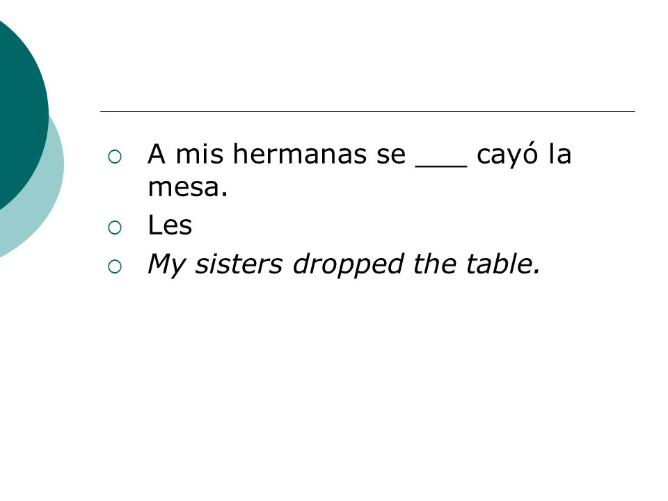 A mis hermanas se ___ cayó la mesa. Les My sisters dropped the table.