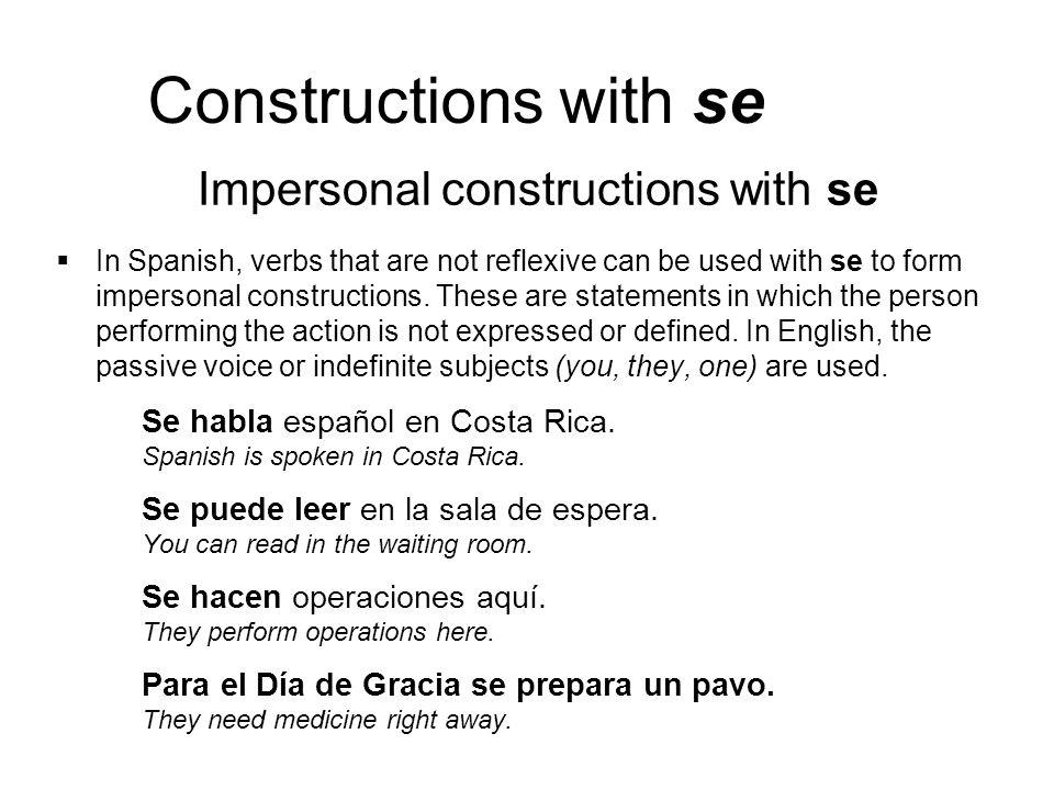 Constructions with se ¡ATENCIÓN.