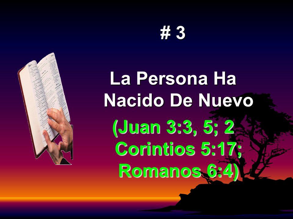 # 3 La Persona Ha Nacido De Nuevo (Juan 3:3, 5; 2 Corintios 5:17; Romanos 6:4)