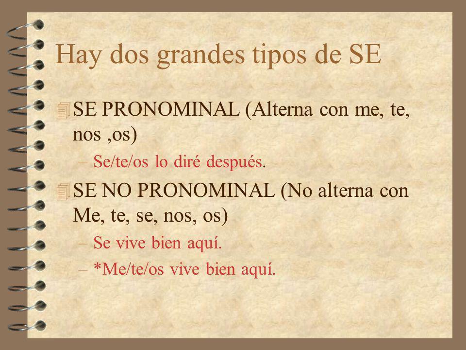 Hay dos grandes tipos de SE 4 SE PRONOMINAL (Alterna con me, te, nos,os) –Se/te/os lo diré después.