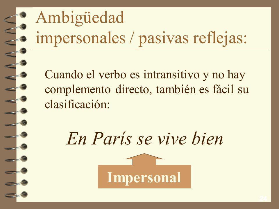 23 Ambigüedad impersonales / pasivas reflejas: Si el elemento nominal, aunque sea de cosa, va en plural concertando con el verbo, tampoco hay vacilaci