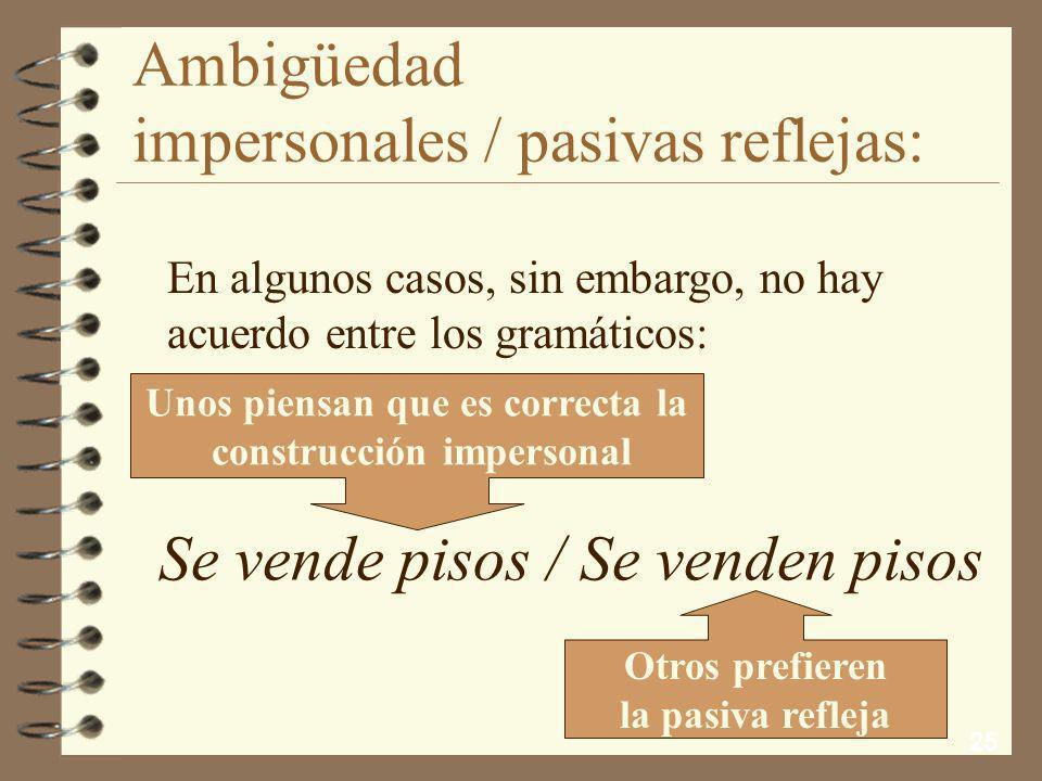 24 Ambigüedad impersonales / pasivas reflejas: Cuando el verbo es intransitivo y no hay complemento directo, también es fácil su clasificación: En Par