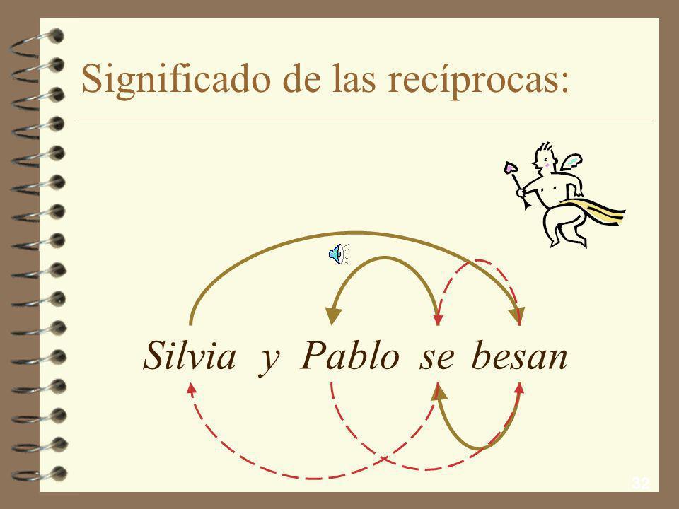 31 El se recíproco: 4 Coincide en forma con el reflexivo, pero se distingue por su significado 4 Como refuerzo del significado recíproco y para evitar