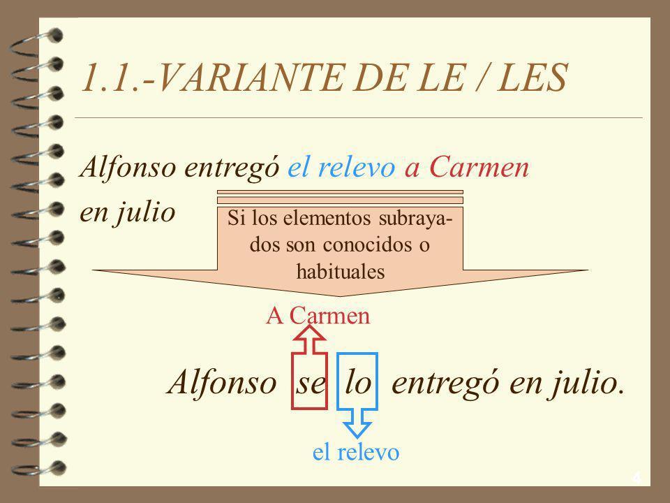 4 1.1.-VARIANTE DE LE / LES Alfonso se lo entregó en julio.