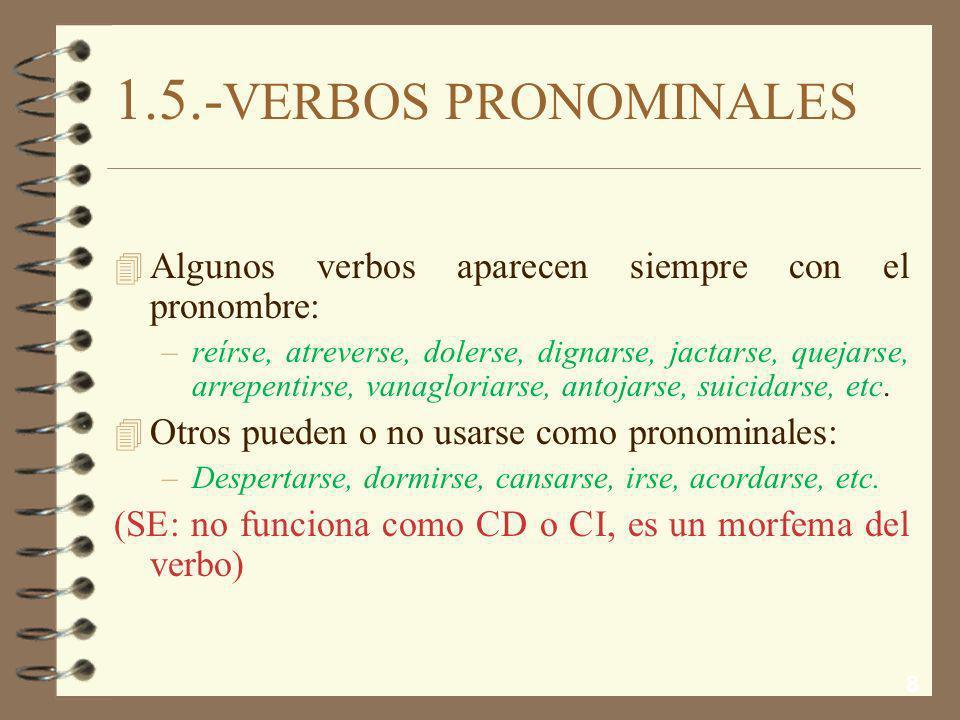 8 1.5.- VERBOS PRONOMINALES 4 Algunos verbos aparecen siempre con el pronombre: –reírse, atreverse, dolerse, dignarse, jactarse, quejarse, arrepentirse, vanagloriarse, antojarse, suicidarse, etc.